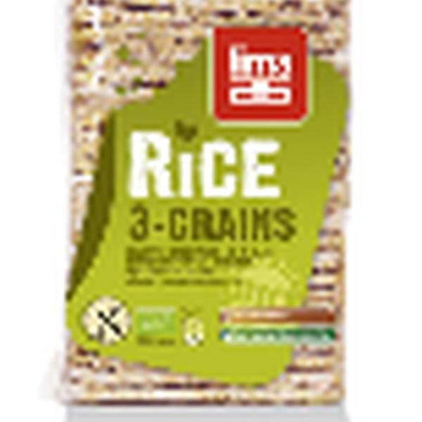 Lima Rijstwafels 3 granen dun rechthoekig glutenvrij bio 130g