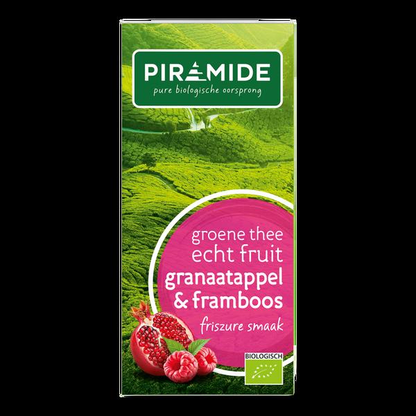 Piramide Groene thee granaatappel/framboos bio 20 builtjes